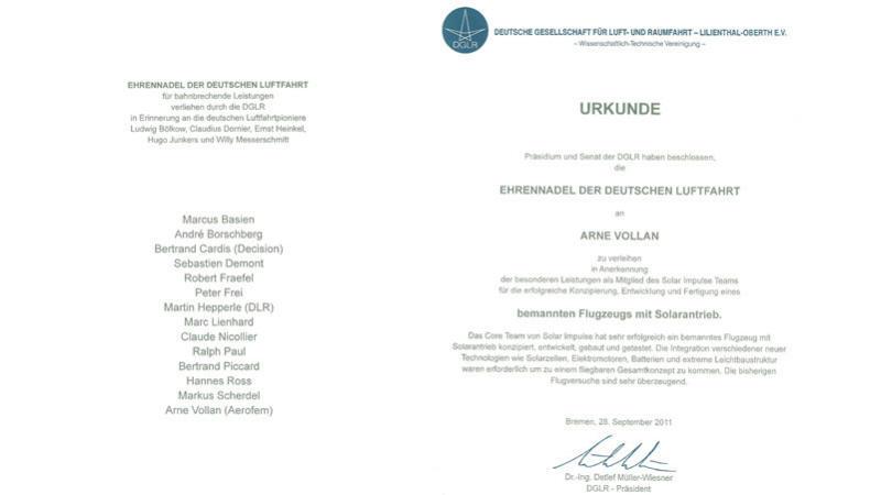 Ehrennadel der Deutschen Luftfahrt an Arne Vollan